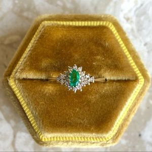 Jewelry - Emerald Diamond Yellow Gold Ring Halo Victorian